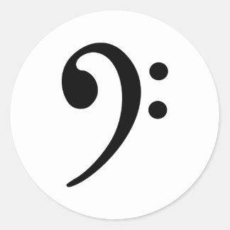 Bass clef round stickers