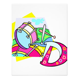 Bass drum and letter D graphic colourful image Personalized Invite