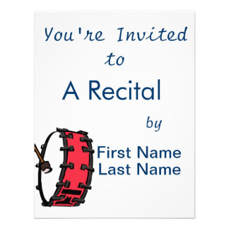 Bass Drum Marching Red with Mallet Clear Head Invite