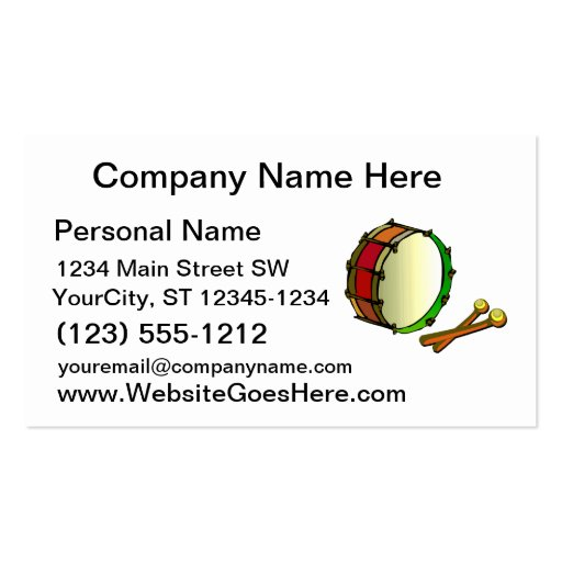 Bass drum with mallets red green business card templates