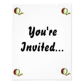 Bass drum with mallets red green custom invitation