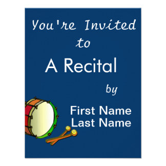 Bass drum with mallets red green personalized invite