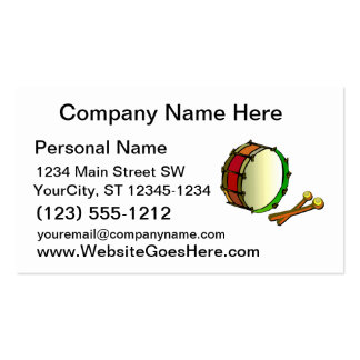 Bass drum with mallets red green pack of standard business cards