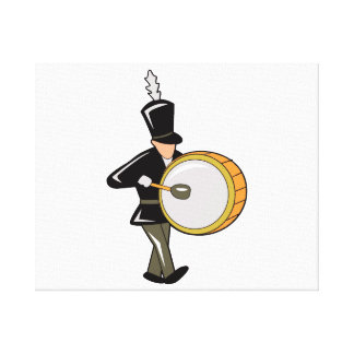 bass drummer marching black abstract.png gallery wrap canvas