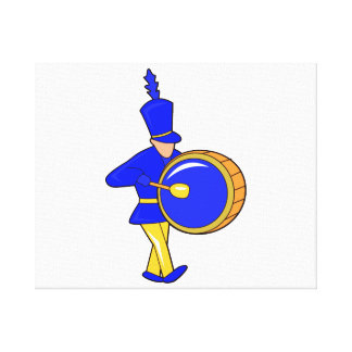 bass drummer marching blue abstract.png gallery wrap canvas