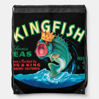 Bass Fish Wearing a Crown on a Black Background Drawstring Backpacks