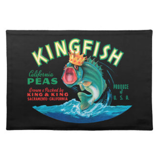 Bass Fish Wearing a Crown on a Black Background Placemats