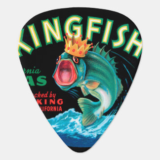 Bass Fish Wearing a Crown on a Black Background Plectrum