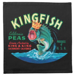Bass Fish Wearing a Crown on a Black Background Printed Napkin