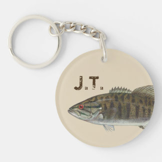 Bass fish with monogram or name Single-Sided round acrylic key ring