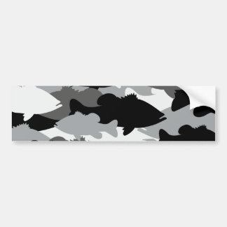 Bass Fishing Black Camo Bumper Sticker