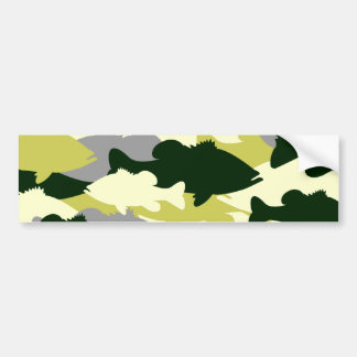 Bass Fishing Green Camo Bumper Sticker