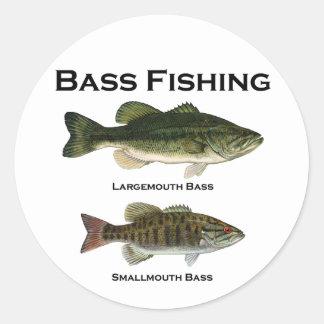 Bass Fishing Logo (largemouth - smallmouth) Round Sticker