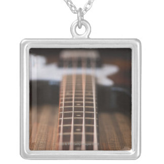 Bass Guitar 2 Silver Plated Necklace