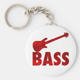 Bass Guitar Basic Round Button Key Ring