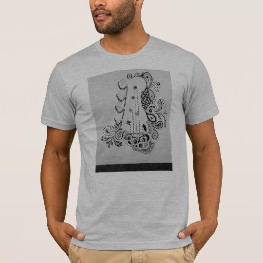 Bass guitar drawing on men's t shirt. T-Shirt