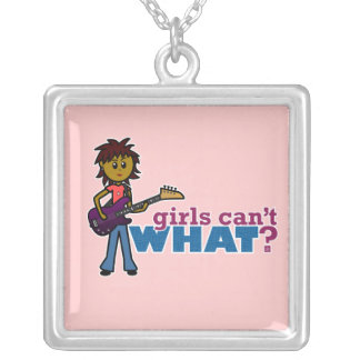 Bass Guitar Girl Silver Plated Necklace