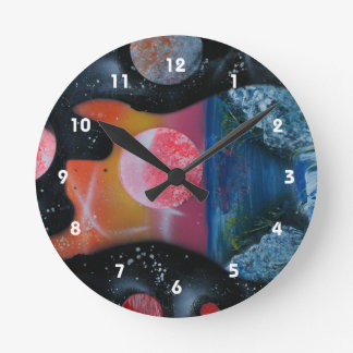 bass guitar left tropical theme spacepainting round clock