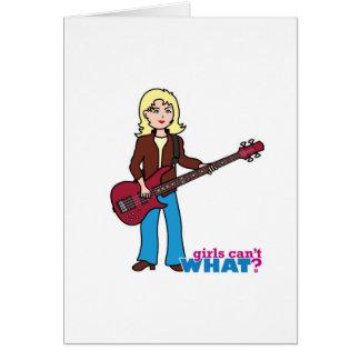 Bass Guitar Player - Light/Blonde Greeting Card