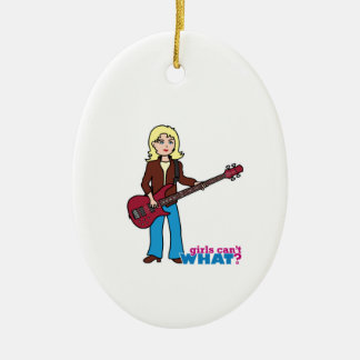 Bass Guitar Player - Light/Blonde Christmas Ornament
