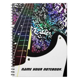 Bass Guitar Rainbow Music Notes Notebook