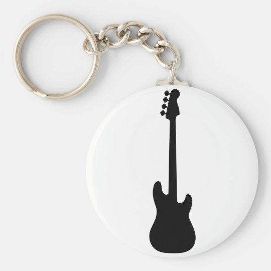 Bass Guitar Silhouette, musical instrument Key Ring