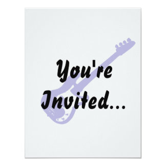 bass guitar slanted blue graphic 11 cm x 14 cm invitation card