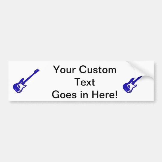 bass guitar slanted blue graphic bumper sticker