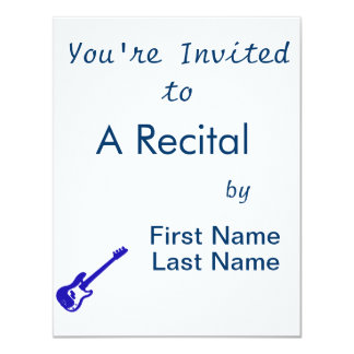 "bass guitar slanted blue graphic 4.25"" x 5.5"" invitation card"