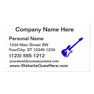 bass guitar slanted blue graphic pack of standard business cards
