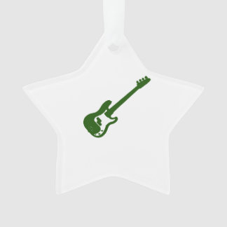 bass guitar slanted green graphic ornament