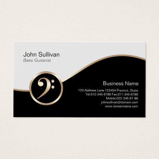 Bass Guitarist Business Card Gold Bass Clef Icon