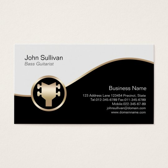 Bass Guitarist Business Card Gold Bass Guitar Icon