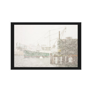 Bass Harbor in Heavy Snowstorm, Coast of Maine Canvas Print