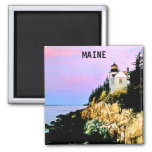 BASS HARBOR LIGHTHOUSE, MAINE SQUARE MAGNET