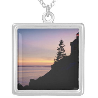 Bass Harbor lighthouse on Mt. Desert Island, Silver Plated Necklace