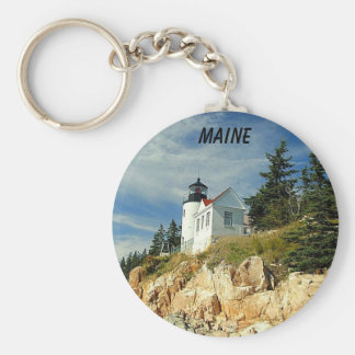 BASS HARBOR, MAINE BASIC ROUND BUTTON KEY RING