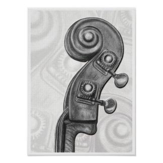 Bass Headstock in Charcoal Music Art Print