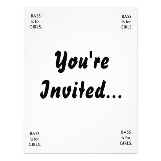 Bass is for girls black text personalized announcement