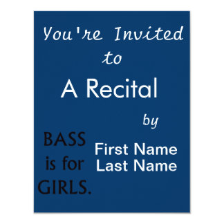 """Bass is for girls black text 4.25"""" x 5.5"""" invitation card"""