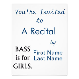 Bass is for girls black text invitation