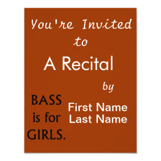 "Bass is for girls black text 4.25"" x 5.5"" invitation card"