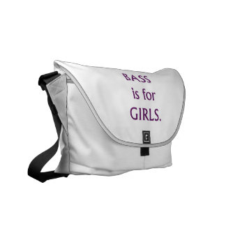 Bass is for girls purple text messenger bags