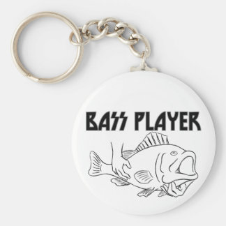 Bass Player Basic Round Button Key Ring