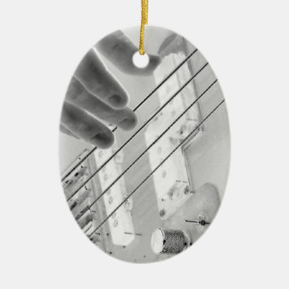 Bass player , bass and hand, negative image christmas ornament