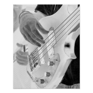 Bass player , bass and hand, negative image