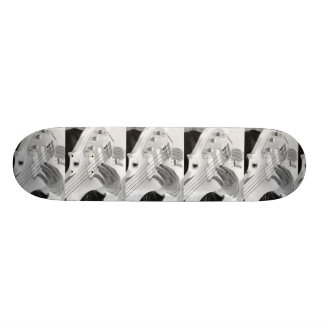 Bass player , bass and hand, negative image skateboard
