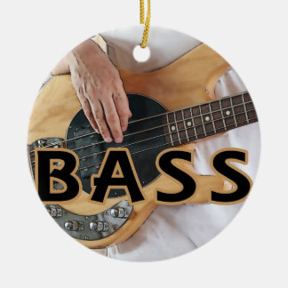 bass player text four string bass hands round ceramic decoration