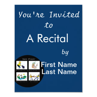 """bass player what I think I do circle 4.25"""" X 5.5"""" Invitation Card"""