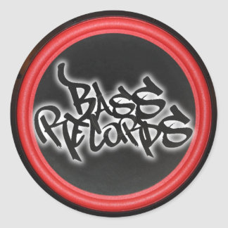 Bass Records Gear Round Stickers